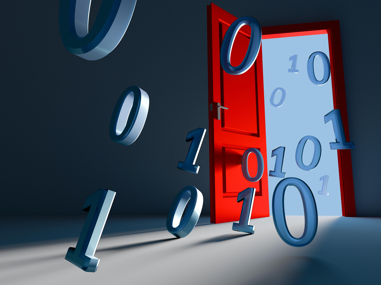 Cybersecurity Tips: open door with data escaping