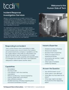 TCDI Incident Response Investigation Fact Sheet